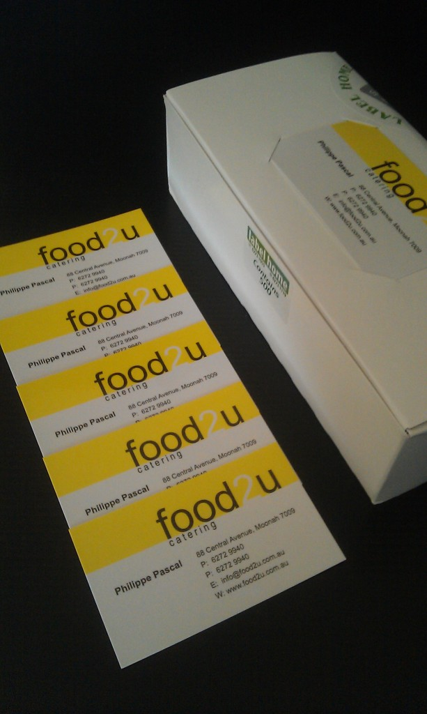 Business cards printed for food2u label home tasmania